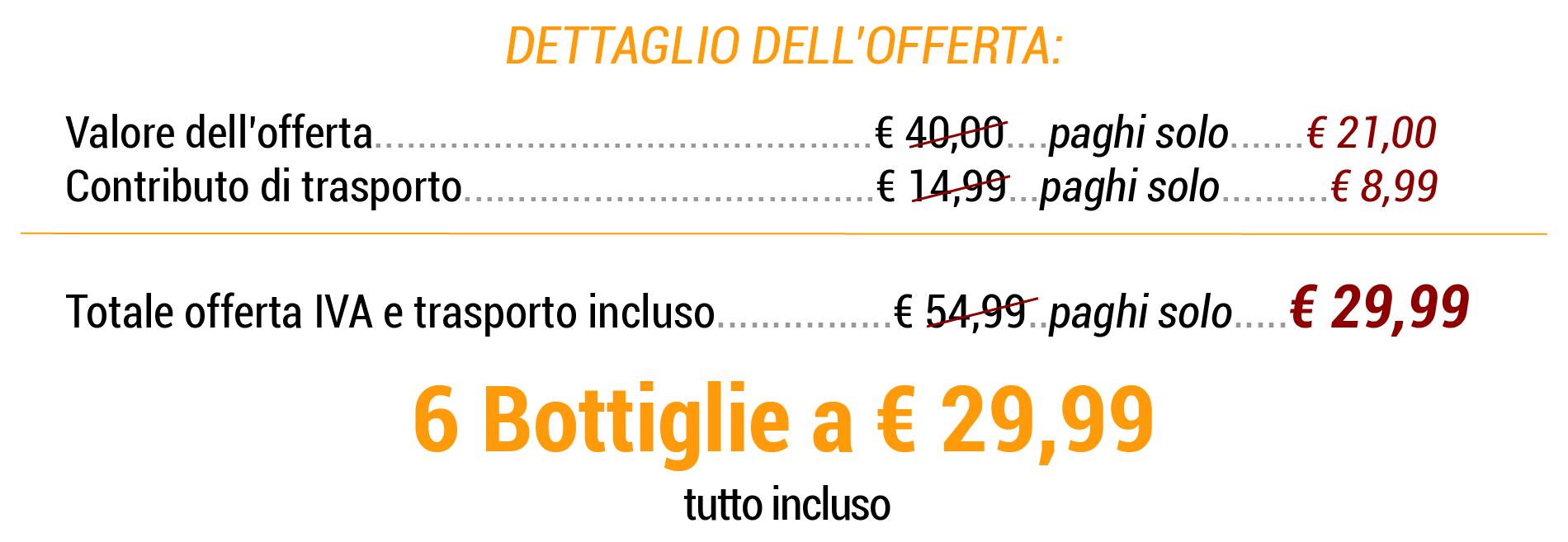 6 bottiglie € 29,99 tutto incluso
